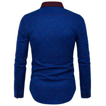 New Fashion Wave Point Printing Pure Cotton Man Body Long Sleeved Shirt -Y954 - BLUE L