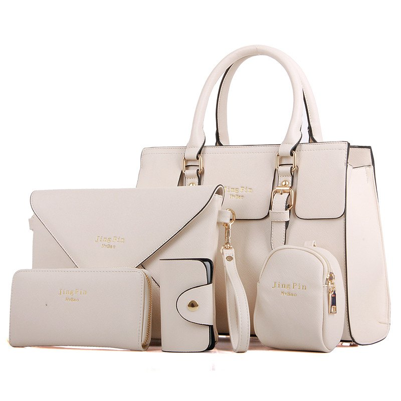 Women'S Briefcase Portable Shoulder Messenger Five Pieces of Sub-Mother Package - BEIGE
