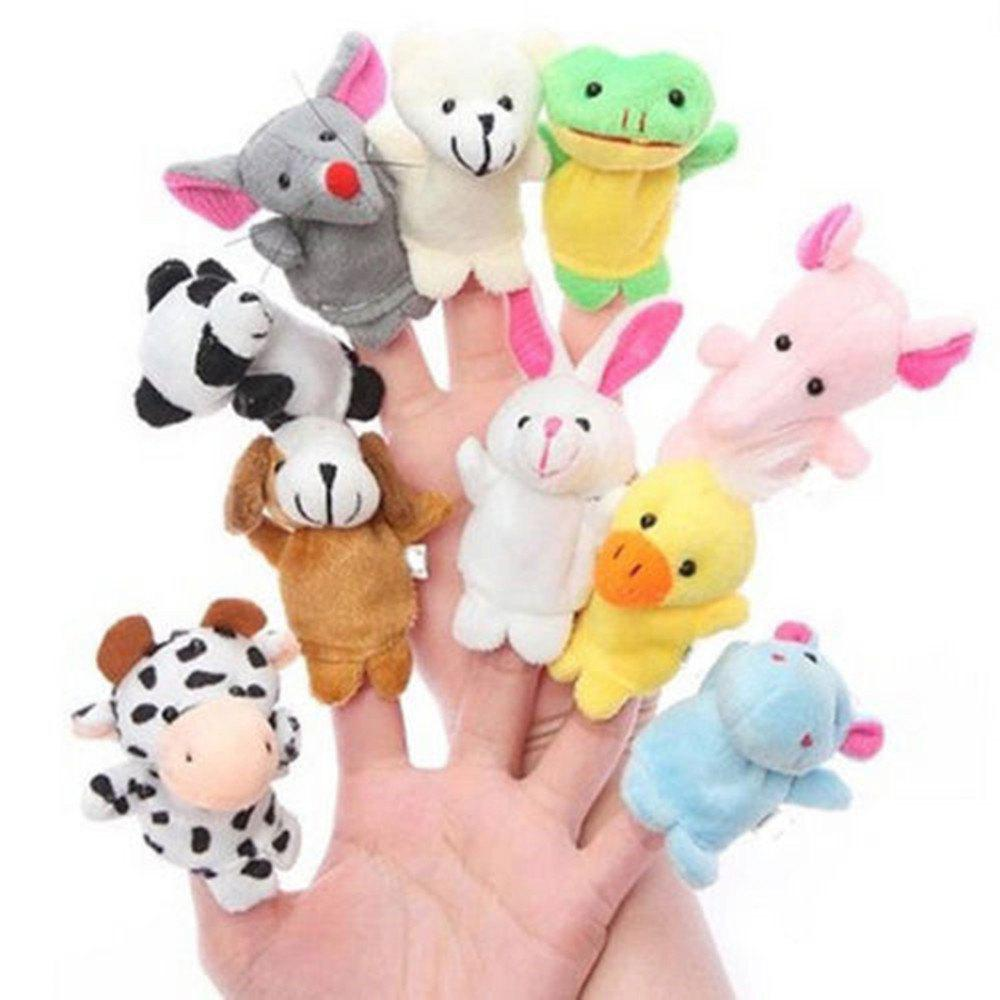 Baby Toy Finger Puppet Cloth Plush Doll Educational Hand Cartoon Animal 10Pcs wiben animal hand puppet action