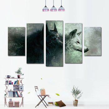 5PCS Black and White Double Wolf Without Frame Print - GRAY GRAY