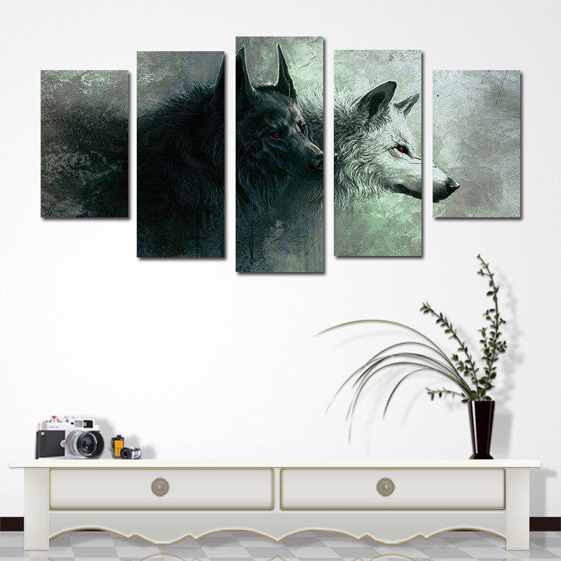 5PCS Black and White Double Wolf Without Frame Print - GRAY