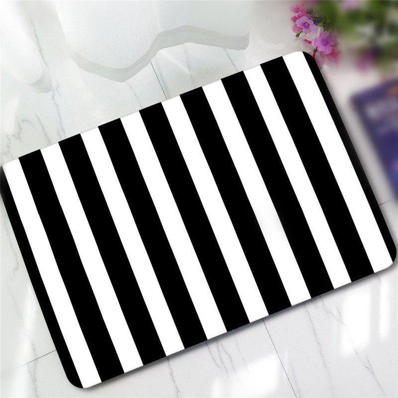 Creative Black and White Pattern Antiskid Floor Mat - BLACK