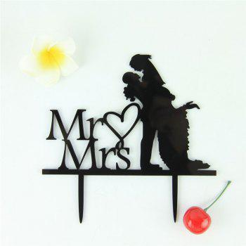 Romantic Mr Mrs Black Acrylic Cake Topper for Wedding Decoration Valentine's Day - BLACK