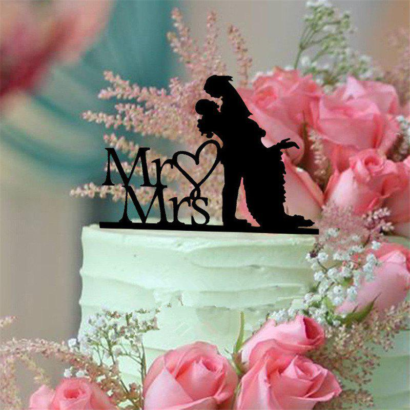 Romantic Mr Mrs Black Acrylic Cake Topper for Wedding Decoration Valentine's Day wedding cake murder