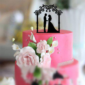 Romantic  Bride and Groom  Cake Topper for Wedding Decoration Valentine's Day - BLACK