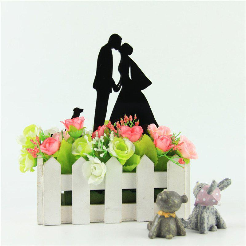 Bride Groom and Dog Romantic Cake Topper for Wedding Decoration Valentine's Day - BLACK