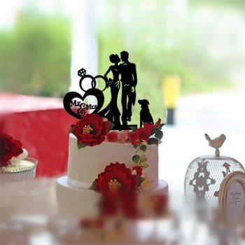 Bride and Groom  Romantic Cake Topper for Wedding Decoration Valentine's Day - BLACK