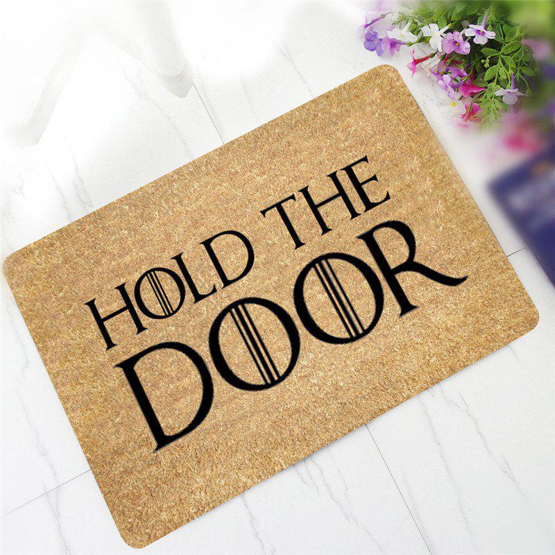 Creative HOLD THE DOOR Pattern Antiskid Floor Mat - LIGHT YELLOW