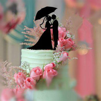 Bride and Groom Romantic Black Acrylic Cake Topper for Wedding Decoration Valentine's Day - BLACK