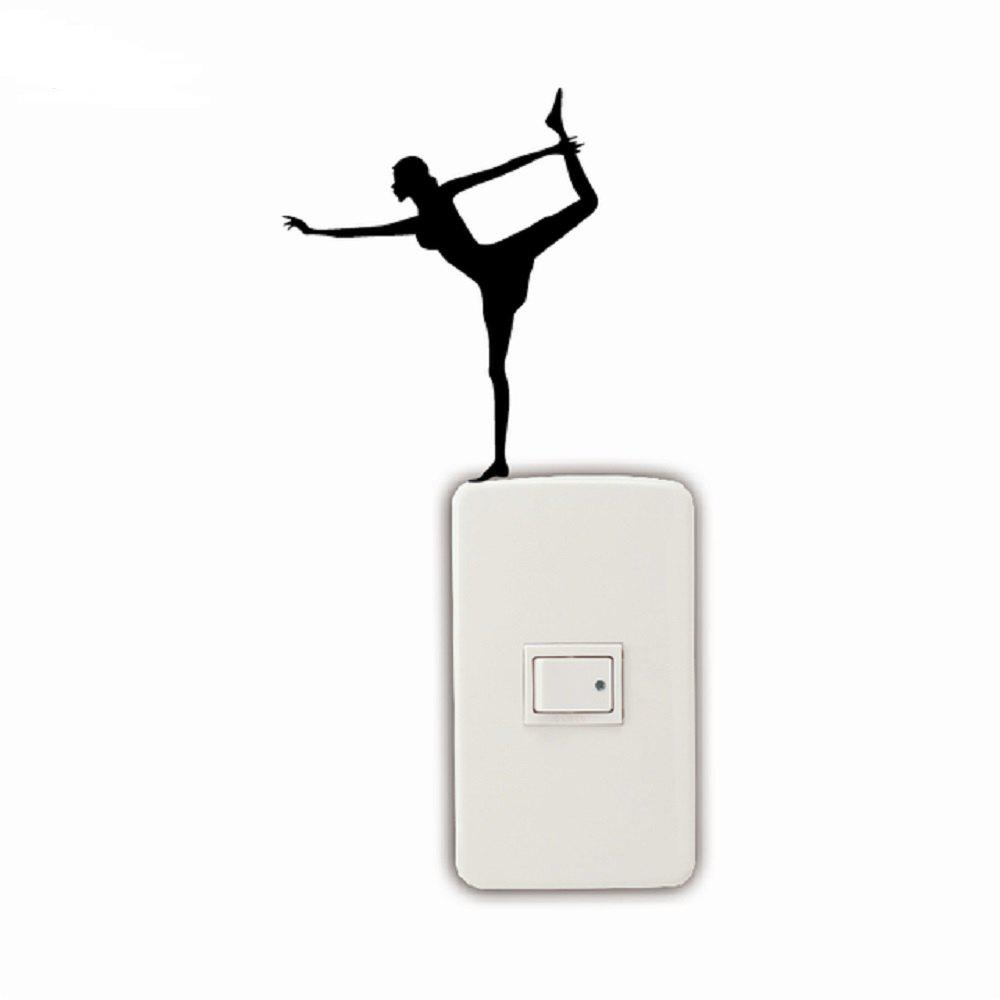 Yoga Dancer Ballet Dancer Gymnastics Light Switch Sticker Bedroom Decal - BLACK 12 X 9.6 CM