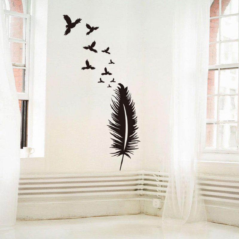 Feather Wall Sticker Birds Wall Decal Modern Vinyl Wall Art Removable Wall Decoration Feather Wallpaper - BLACK 58 X 95 CM