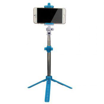Extendable Monopod with Tripod Stand Bluetooth Selfie Stick for iPhone and Android - BLUE
