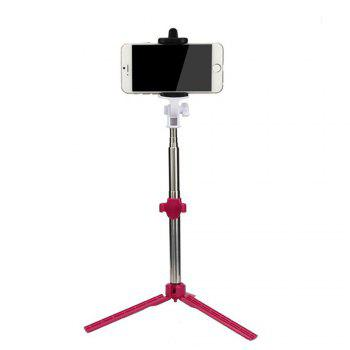 Extendable Monopod with Tripod Stand Bluetooth Selfie Stick for iPhone and Android - RED