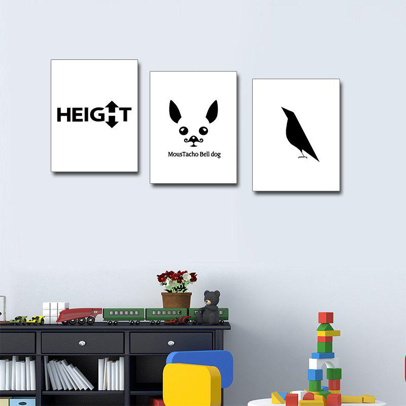 Colorful Black and White Minimalist Animal Painting Triple Triple Frame - BLACK WHITE 12 X 16 INCH (30CM X 40CM)