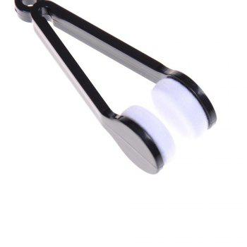 Eyeglass Mini Microfiber Spectacles Cleaner Eyeglass Cleaning Clip Soft Brush Cleaning Tool - BLACK