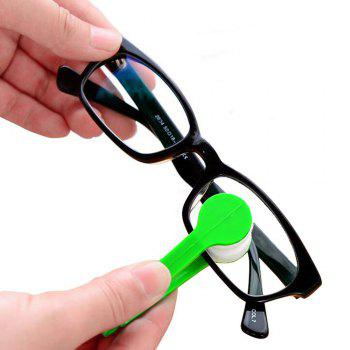 Eyeglass Mini Microfiber Spectacles Cleaner Eyeglass Cleaning Clip Soft Brush Cleaning Tool - GREEN