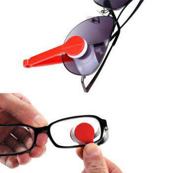 Eyeglass Mini Microfiber Spectacles Cleaner Eyeglass Cleaning Clip Soft Brush Cleaning Tool - RED