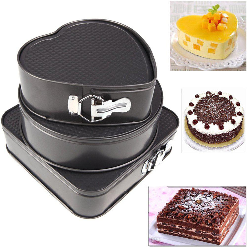 3PCS Happy Birthday Cake Moulds Set Simple Durable Non-sticky Baking Tool - BLACK