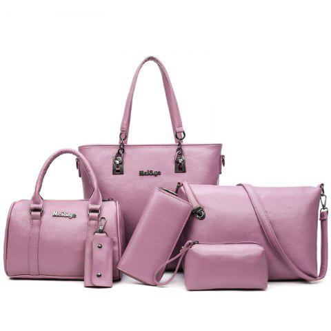 Six Woolly Fashion Litchi Grain Water Bucket Female Bag - PINK