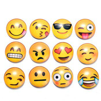 12PCS Crystal Glass Fridge Magnet Magnetic Emoji Smiley Face Expression - YELLOW YELLOW