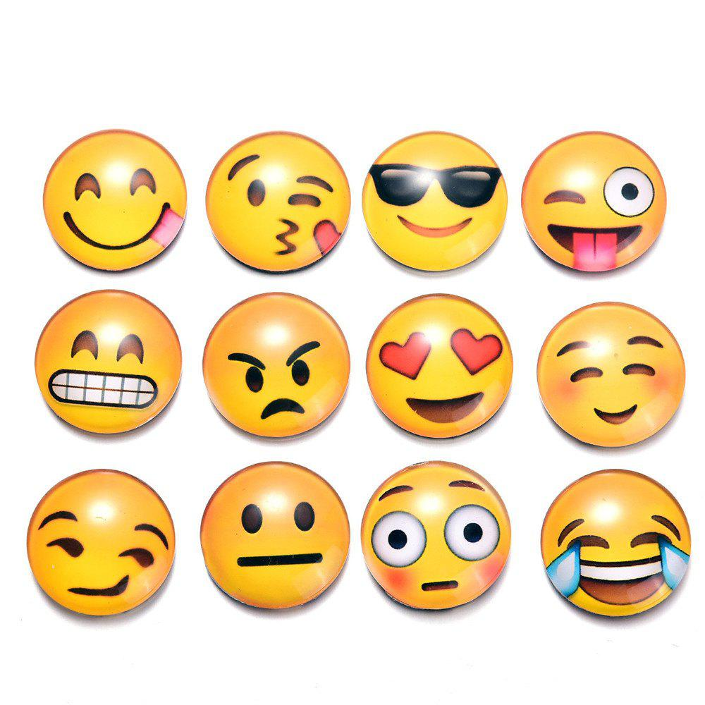 12PCS Crystal Glass Fridge Magnet Magnetic Emoji Smiley Face Expression - YELLOW