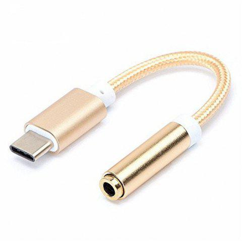 Type-C to 3.5mm Earphone Jack Stereo Adapter Connector Converter Cable for Xiaomi 6 - GOLDEN