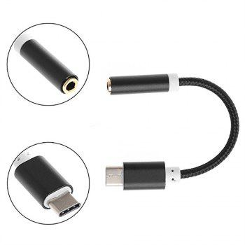 Type-C to 3.5mm Earphone Jack Stereo Adapter Connector Converter Cable for Xiaomi 6 - BLACK