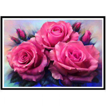 NAIYUE AE0061 Three Rose Print Draw Full Diamond Painting Diamond Embroidery - PINK PINK