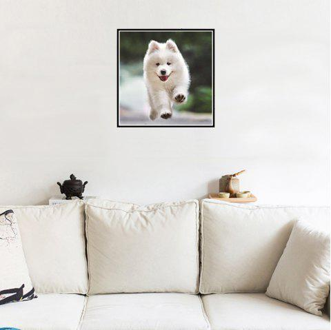 Naiyue S048 Small White Dog Print Draw Diamond Drawing - WHITE
