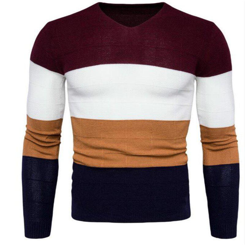 New Mens Sweater Knit Collar V Four-Color Color Y961 - RED M