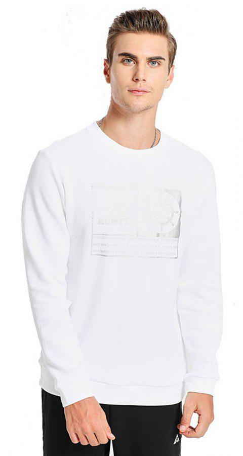 HUMTTO Men's Long-sleeved Round Neck Sweat-absorbent Sportswear - WHITE 3XL