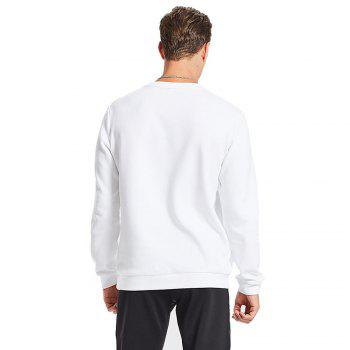 HUMTTO Men's Long-sleeved Round Neck Sweat-absorbent Sportswear - WHITE WHITE