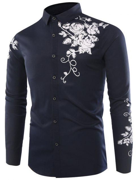 Male Rose Printed Long Sleeved Shirt - CADETBLUE 2XL