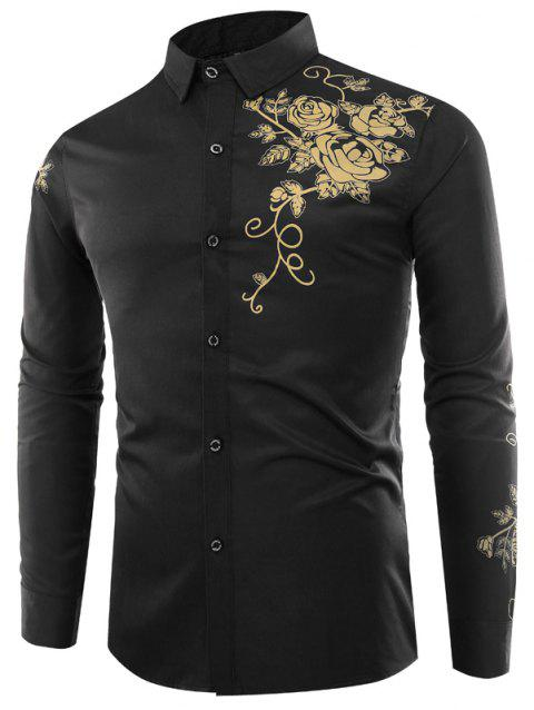 Male Rose Printed Long Sleeved Shirt - BLACK 4XL