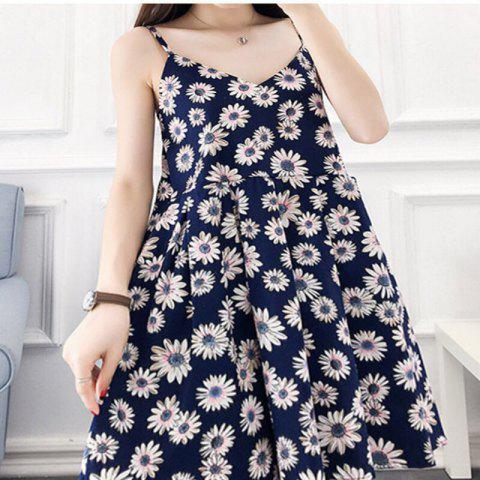2018 New Fashion Cotton Print Dresses - BLUE ONE SIZE