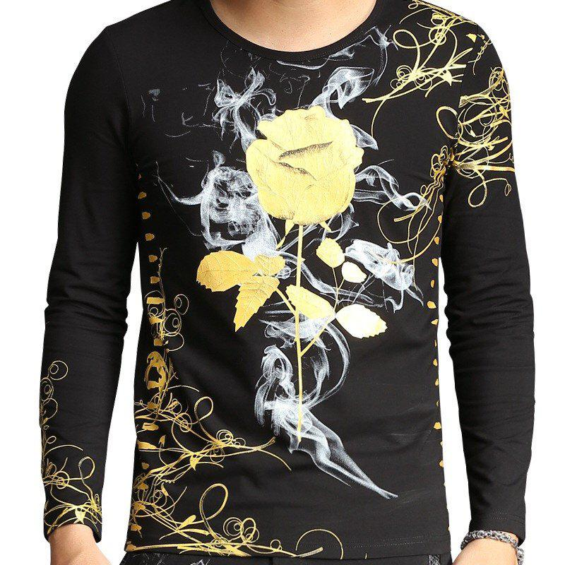 2018 Spring New 3D Digital Rose Printed Long Sleeved T-Shirts