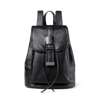 Fashion Design Soft PU Leather Black Backpack