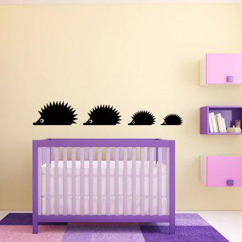 Cartoon Hedgehog Creative Wall Stickers For Kids Room Decoration - BLACK