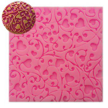 Flower heart Lace Gift Chocolate Silicone Mould Pastry Tool Bakeware Jelly Sugar Fondant Silicone Candy Gift decoration Mold - PINK