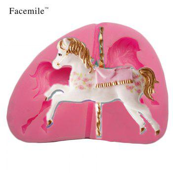 3D Jewelry Carousel Horse Mould Fondant Cake Molds Silicone Mold Cupcake Mould Baking Tools Chocolate Mold Marry-Go-Round - PINK