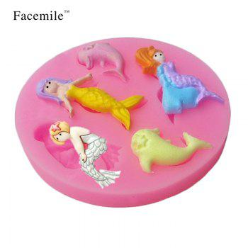 New Charming Mermaid Shape Soap Candle Mold 3D Silicone Fondant Gift Chocolate Mold Gift Decoration/Pastry Baking Tool - PINK