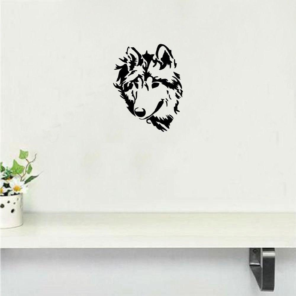 DSU Creative Wolf Head Wall Sticker Cartoon Animal Vinyl Wall Decal Home Decor dsu details about happy girls wall sticker vinyl decal home room decor quote