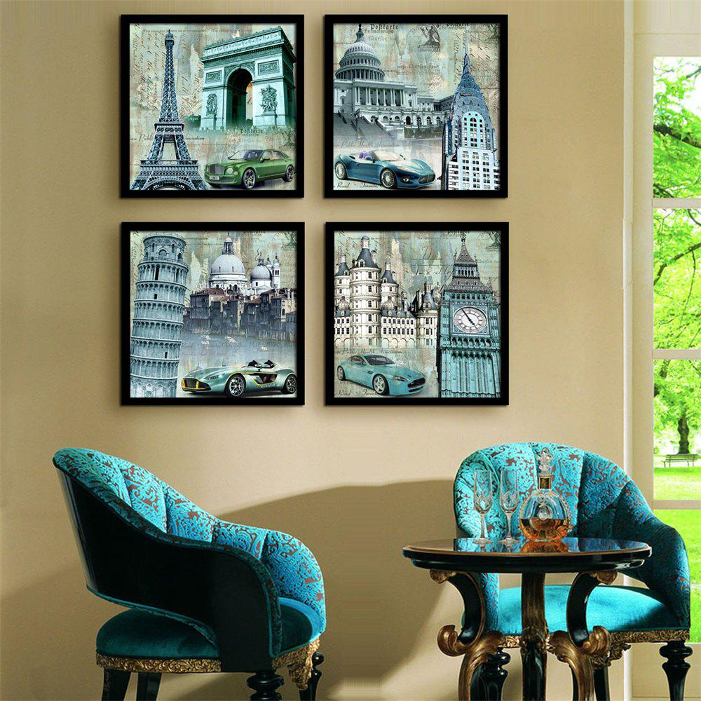 Special Design Frame Paintings The Sports Car Print 4PCS