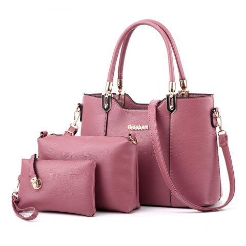 3PCS Women's Bags Set Elegant Solid Color Faux Leather Bags Set - DEEP PINK