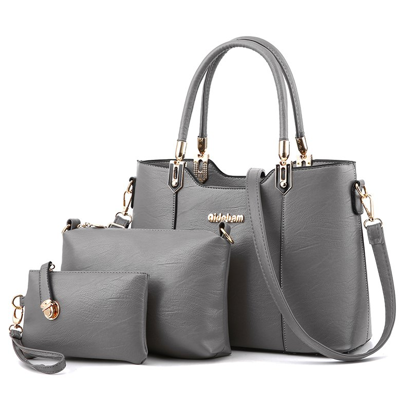 3PCS Women's Bags Set Elegant Solid Color Faux Leather Bags Set - DARK GRAY