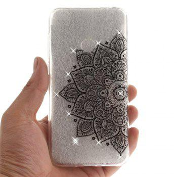 Black Half Flower Diamond Soft Clear IMD TPU Phone Casing Mobile Smartphone Cover Shell Case for Huawei P8 Lite 2017 - BLACK