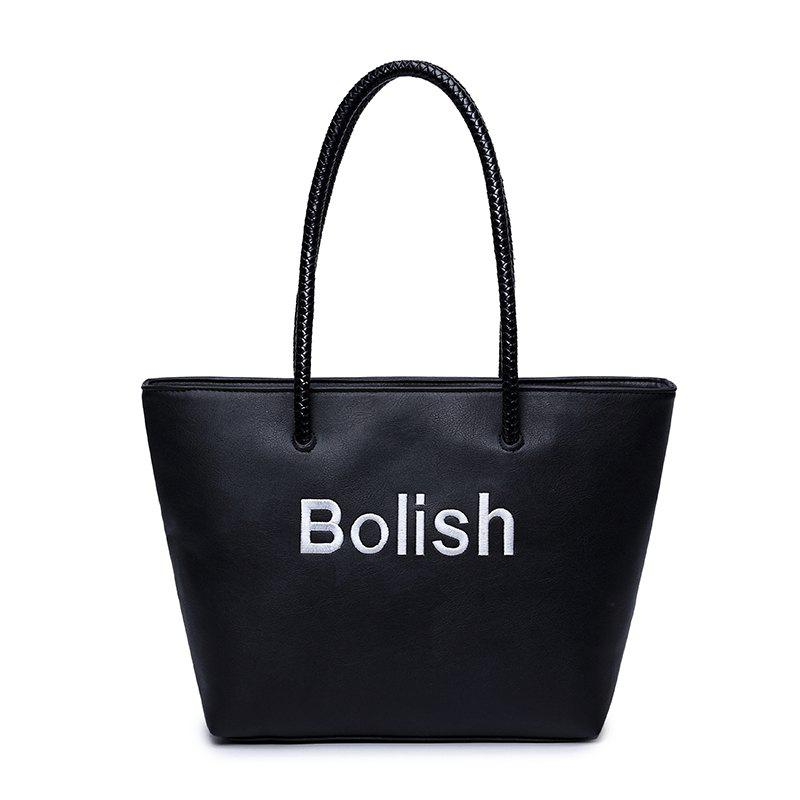 Fashion Simple Single Shoulder Bag Large Size Handbag - BLACK