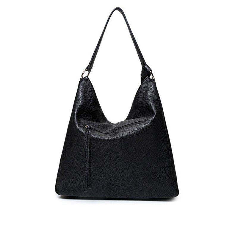 Fashionable Single Shoulder Slanting Handbag Lichee Grain - BLACK