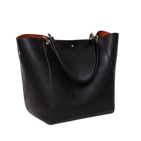 Fashion Large Capacity Tote Bag Lady's Single Shoulder Bag - BLACK