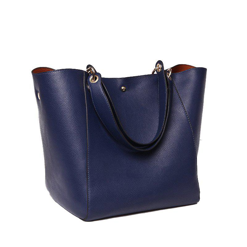 Fashion Large Capacity Tote Bag Lady's Single Shoulder Bag - BLUE